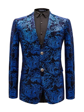 Floral Notched Lapel Two Buttons Men's Blazer