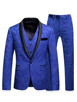 Blazer Floral One Button Print Men's Dress Suit