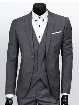 Blazer Vest Pants Single-Breasted Men's Dress Suit