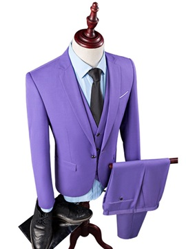 3 Pieces One Button Blazer Vest Pants Plain Men's Dress Suit