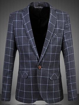 One Button Notched Lapel Plaid Slim Men's Blazer