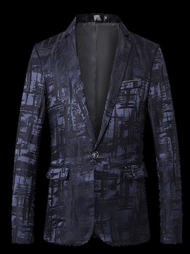 Vintage Print Fashion Notched Lapel Men's Blazer
