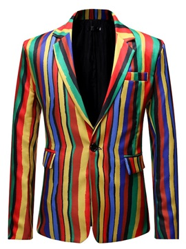 One Button Color Block Stripe Slim Men's Blazer