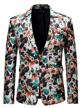 Color Block Floral One Button Slim Men's Blazer