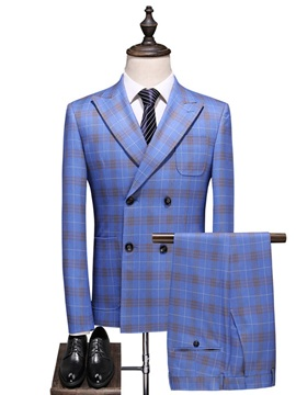 Plaid Blazer Vest Pants Double-Breasted Men