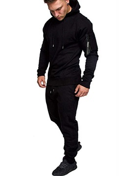 Plain Camouflage Hoodie Pants Men's Outfit