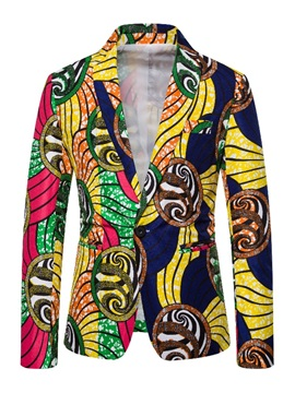 Color Block Ethnic Print One Button Men's Blazer