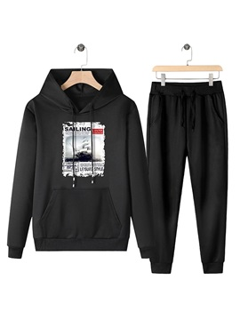 Casual Hoodie Pocket Letter Spring Men's Outfits
