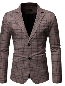 Notched Lapel Slim Single-Breasted Plaid Men's Leisure Blazers