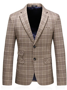 Button Notched Lapel Single-Breasted Slim Men's Blazer