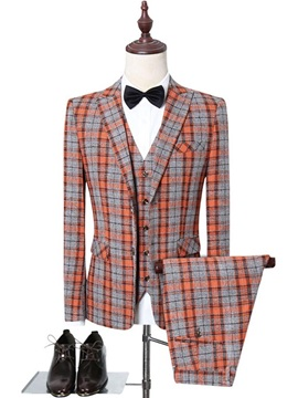Plaid Single-Breasted Casual Button Men's Dress Suit