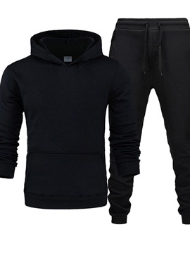 Sports Hoodie Plain Pocket Spring Men's Outfit