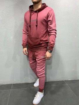 Casual Hoodie Letter Print Winter Men's Outfit