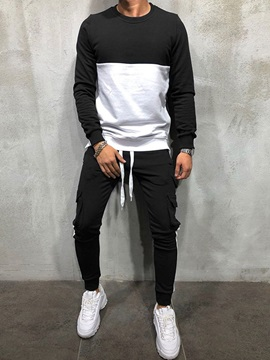 Color Block Hoodie Sports Patchwork Spring Men's Outfit