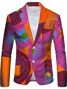 Casual Single-Breasted Print Notched Lapel Men's Leisure Blazer