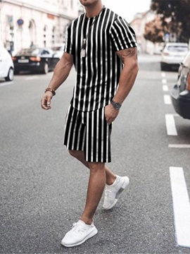 Stripe T-Shirt Casual Pocket Summer Men's Outfit