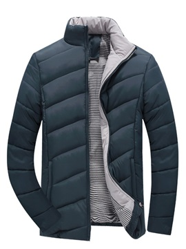 Solid Color Stand Collar Full-Zip Men's Cotton Parka