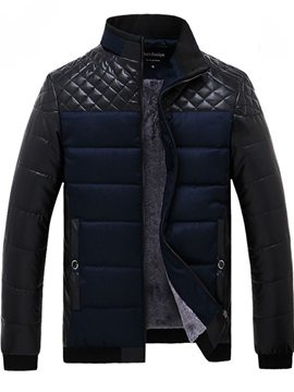 Chest Patchwork Stand Collar Men's Winter Coat