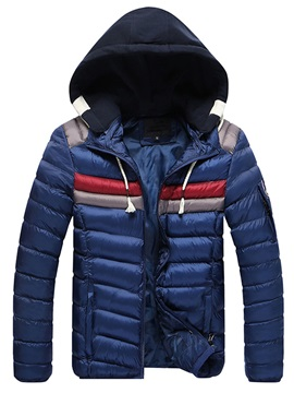 Thicken Warm Hood Zip Vogue Men's Winter Coat