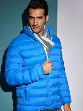 Solid Color Zipper Men's Casual Down Jacket