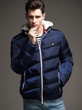 Hooded Chest Printed Plain Men's Down Jacket