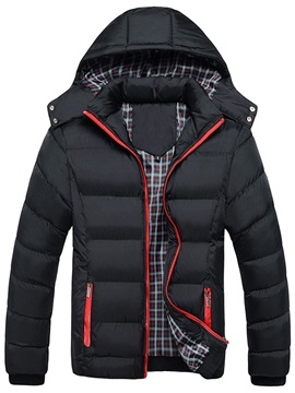 Hooded Zipper Causal Men's Down Jacket