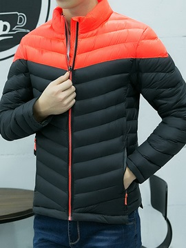 Patchwork Zipper Men's Casual Down Jacket