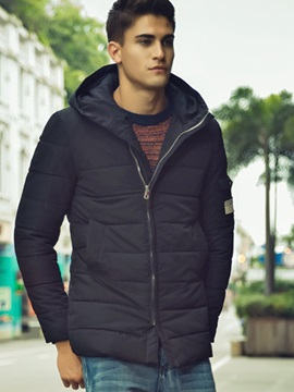 Hooded Zipper Arm Pocket Men's Causal Down Jacket
