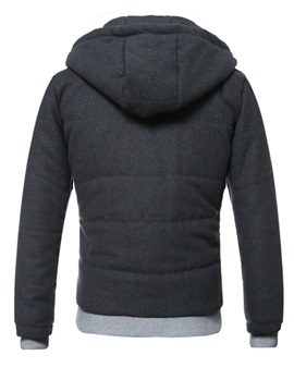 Zipper Hooded Men's Casual Down Jacket