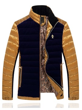 Embroidery Patchwork Men's Down Jacket