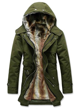 Zipper Solid Color Hooded Men's Fleece Parka