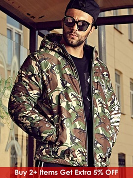 Camouflage Zipper Hooded Men's Chest Print Parka