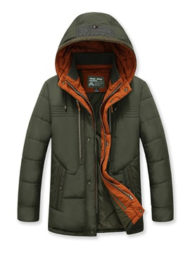 Stand Collar Zipper Hooded Solid Color Warm Slim Men's Down