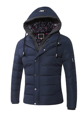 Fake Two Pieces Hooded Warm Solid Color Pleat Slim Men's Winter Coat