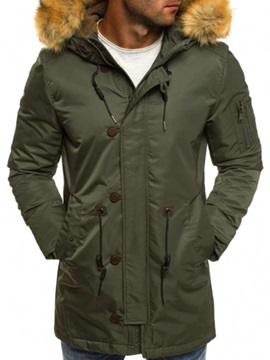 Hooded Solid Color Mid-Length Thicken Men's Winter Coat