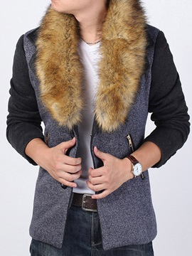 Faux Fur Collar Patchwork Slim Men's Winter Coat