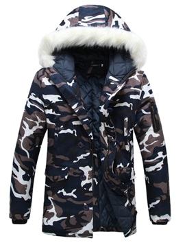Hooded Camouflage Print Mid-Length Thicken Men's Winter Coat