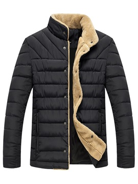 Tidebuy Stand Collar Solid Color Thick Men's Winter Coat