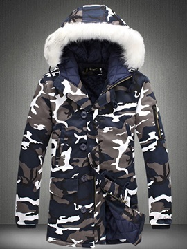 Mid Length Camouflage Hooded Faux Fur Men's Parka