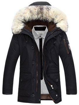 Winter Fur Hooded Plain Zipper Men