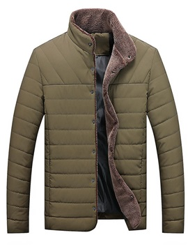 Plain Stand Collar Single-Breasted Men's Down Jacket