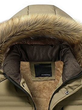 Winter Fur Hooded Thick Zipper Plain Men's Down Coat