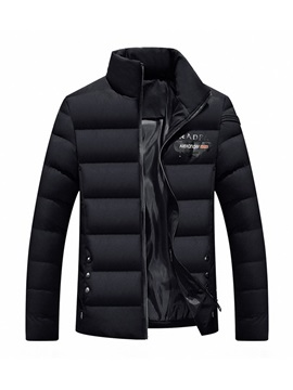 Stand Collar Plain Zipper Men's Down Jacket