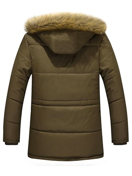 Fur Hooded Plain Zipper Thick Men's Down Coat