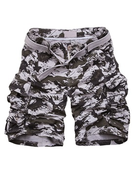 Belt Multi-Pocket Men's Casual Camouflage Shorts
