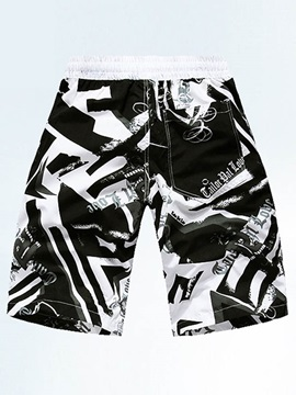 Printing Decorated Knee Length Men's Shorts
