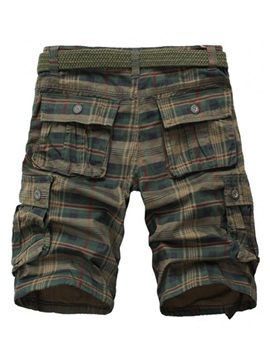 Multi-Pocket Plaid Knee Length Men's Overall Shorts