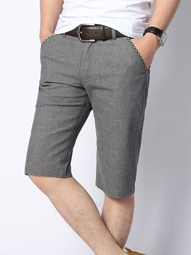 Solid Color Slim Fit Men's Knee Length Shorts