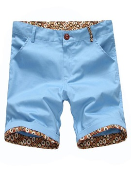 Zipper Roll-Cuff Men's Casual Shorts