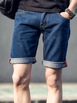 Straight Plain Zipper Men's Denim Shorts